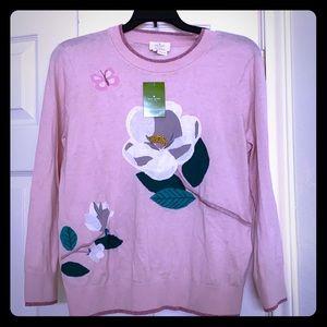 Beautiful Kate Spade Flower Sweater Size M NWT